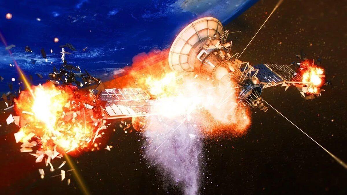 взрыв спутника на орбите