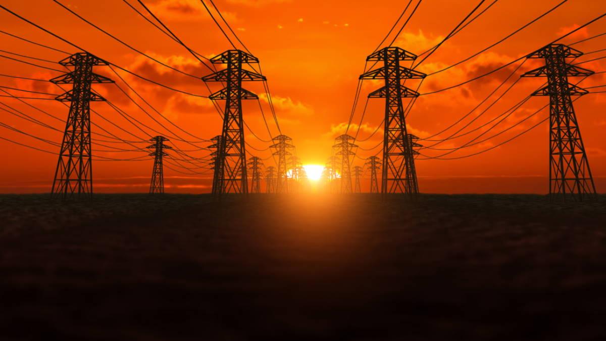 линия электропередачи ЛЭП солнце