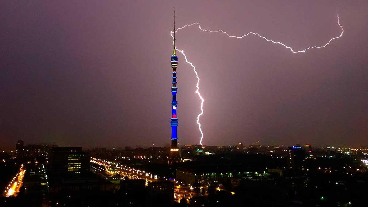 Москва молния гроза гром дождь