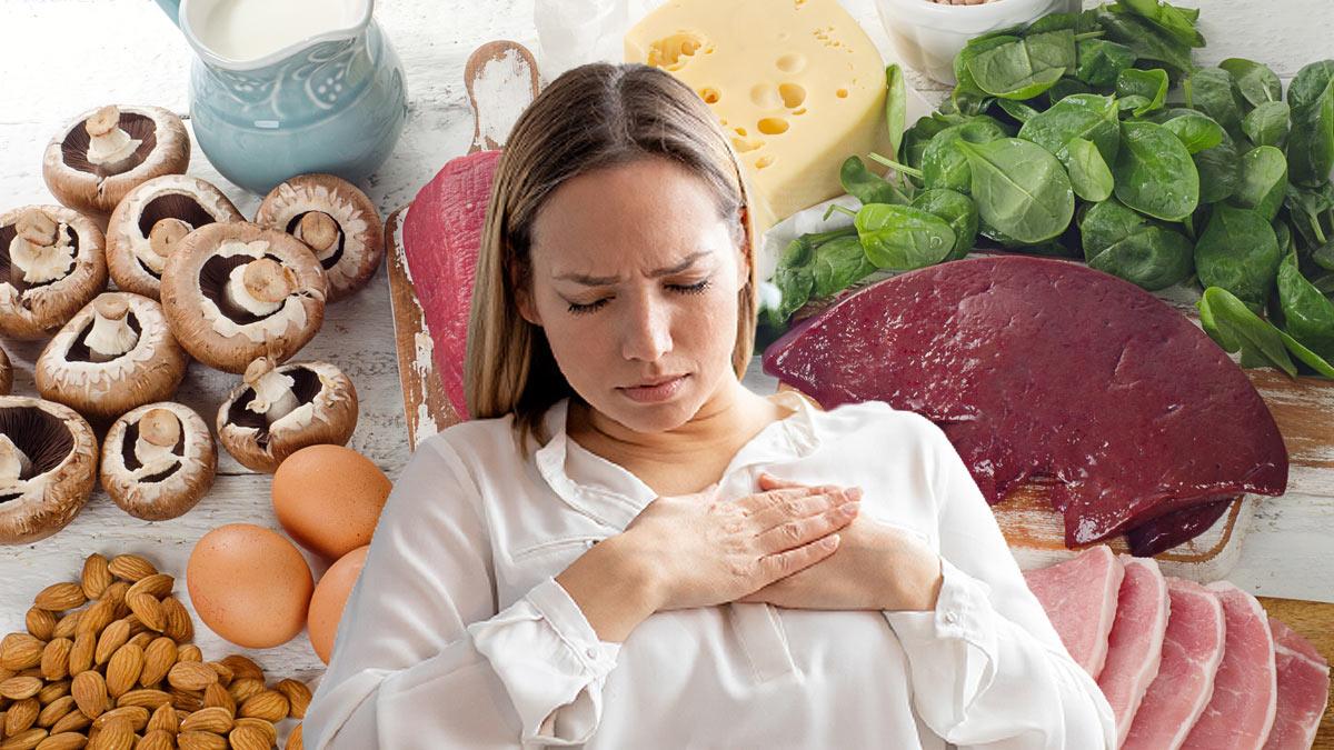 девушка держится за сердце продукты B12