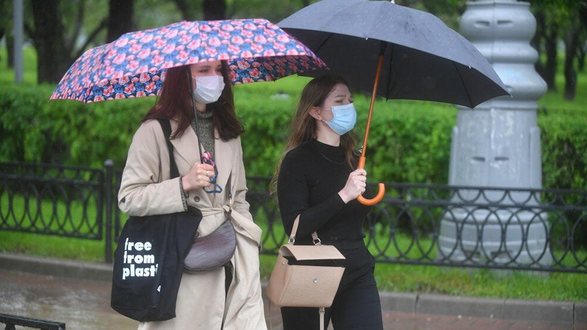 девушки гуляют в парке дождь зонты