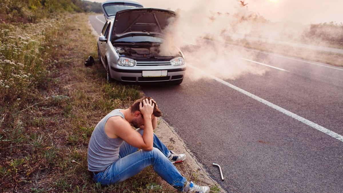 дым капот машина дорога