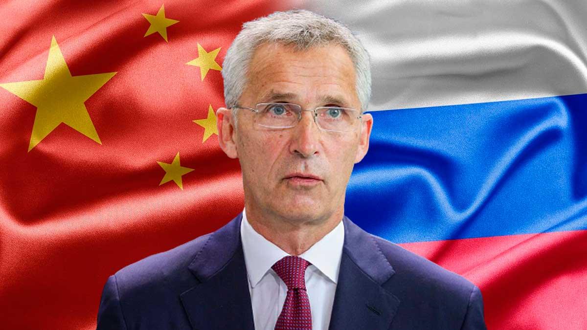 флаги Китай Россия Йенс Столтенберг