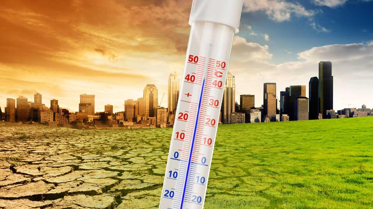 глобальное потепление город жара термометр
