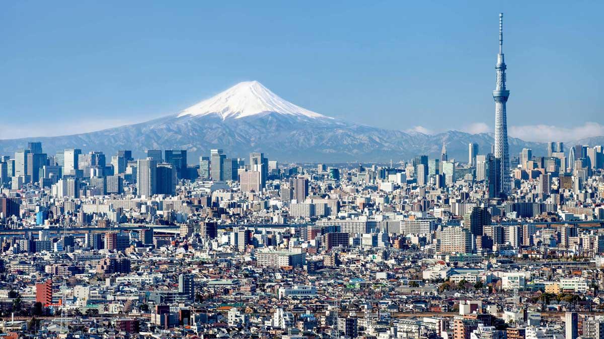 город Токио общий вид гора