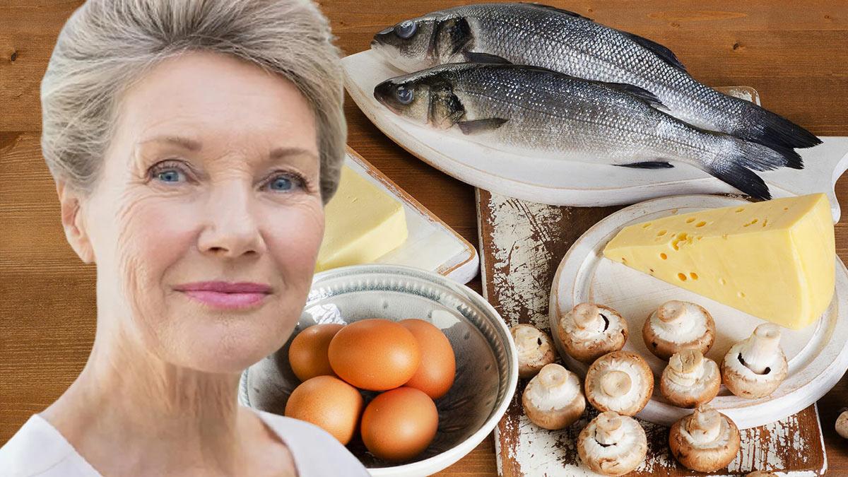 красивая пожилая женщина рыба яйца грибы