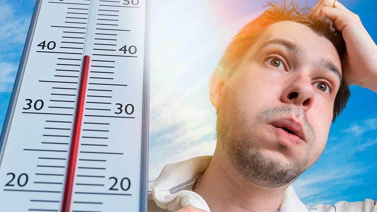 мужчина жара солнце термометр