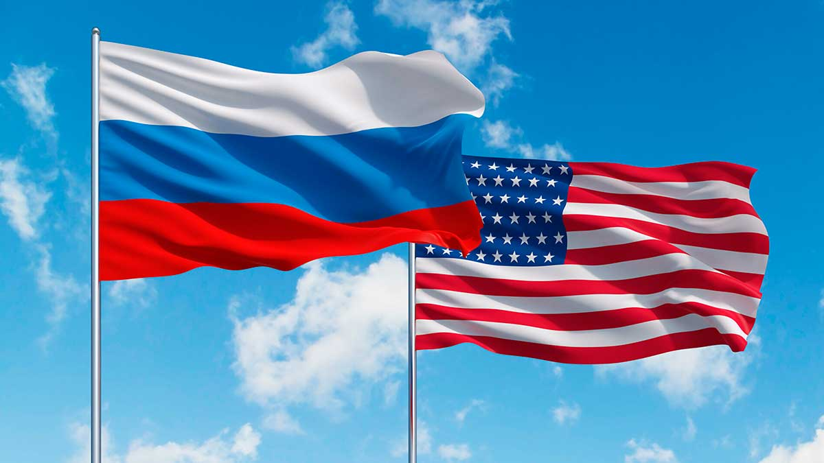 небо флаги Россия США