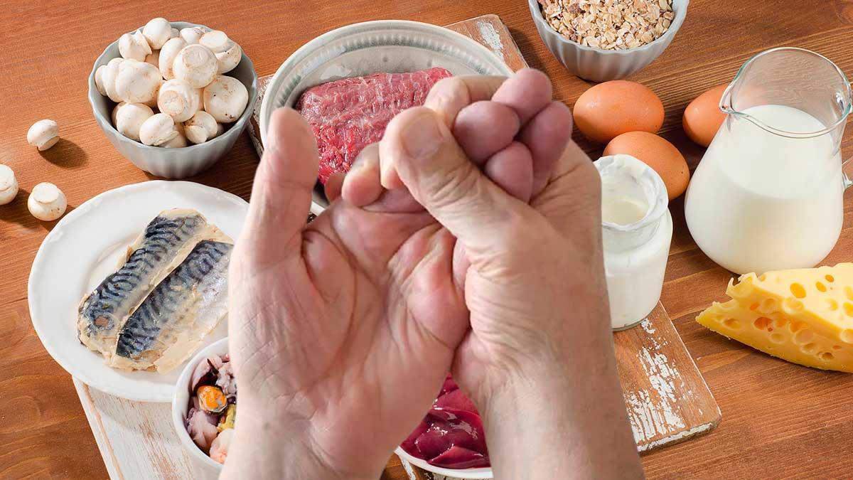 покалывание пальцы руки продукты витамин b12