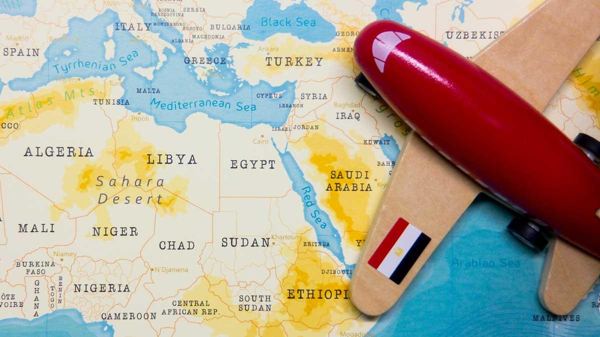 самолет карта Африка флаг Египет