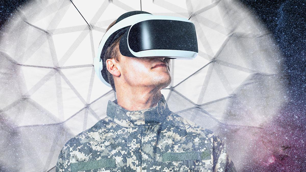 солдат в шлеме виртуальный реальности VR