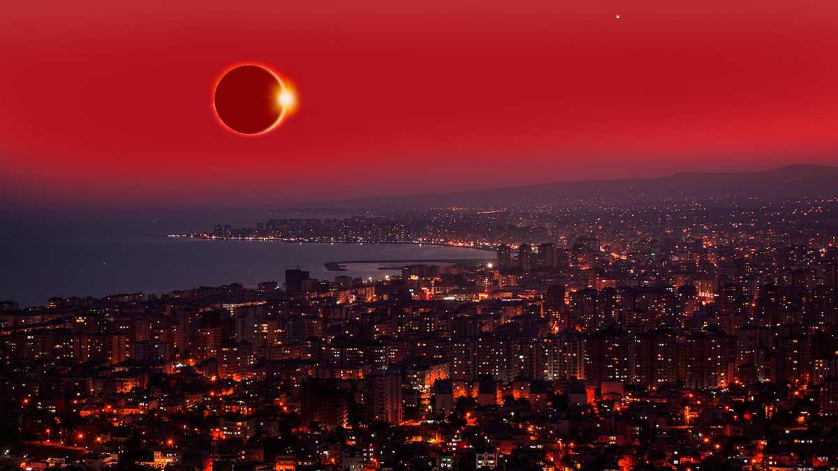 солнечное затмение над городом вид