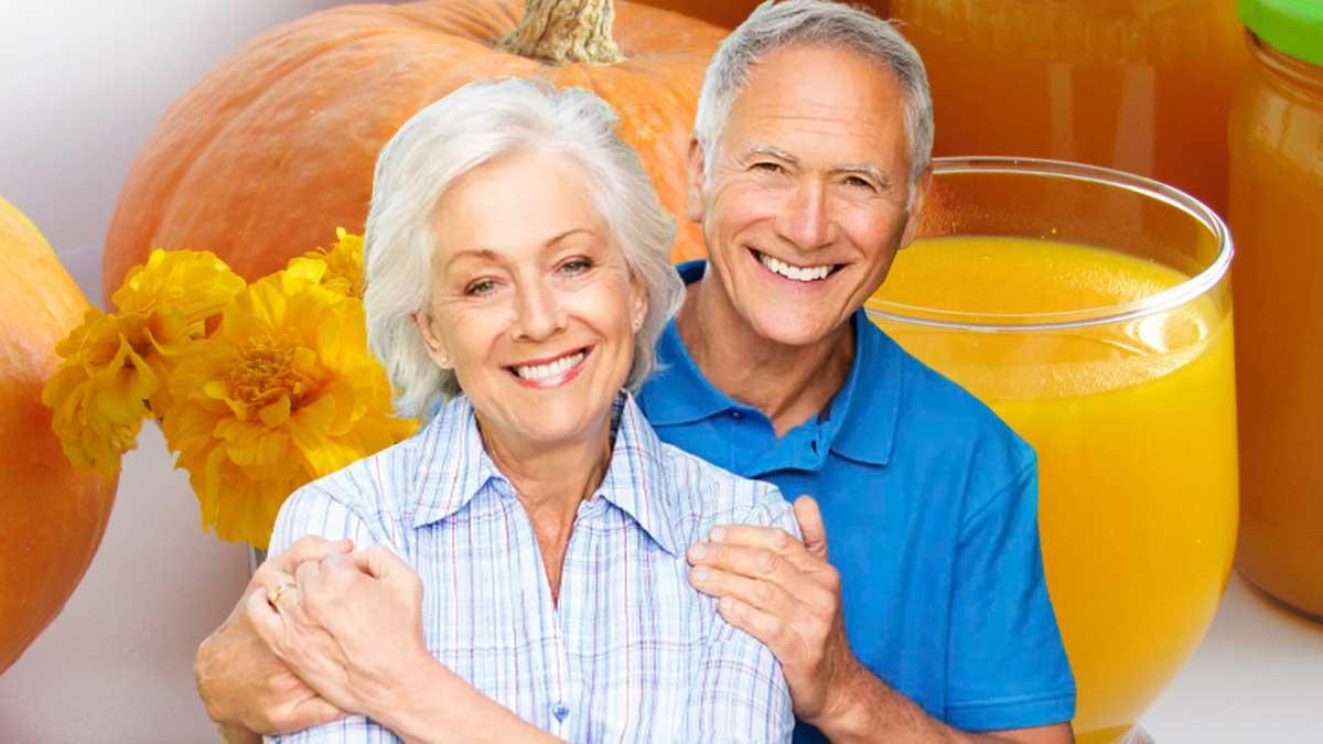 тыквенный сок тыква пожилая пара счастливые