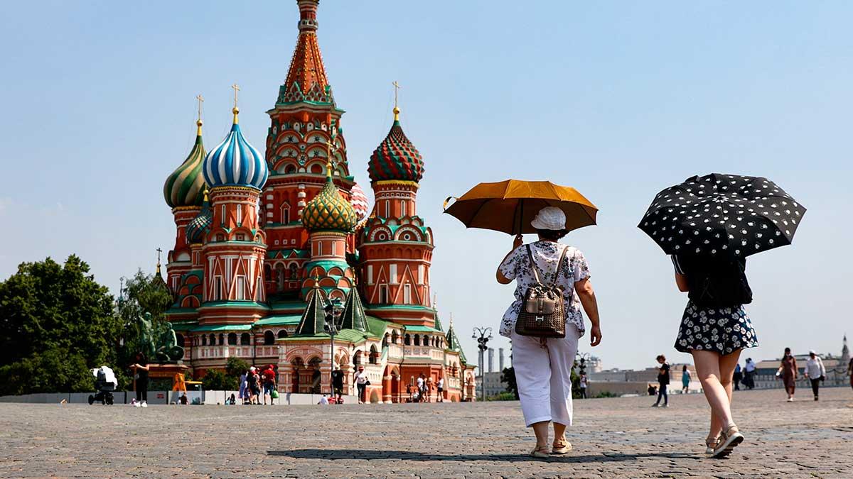 женщины зонтики Красная площадь