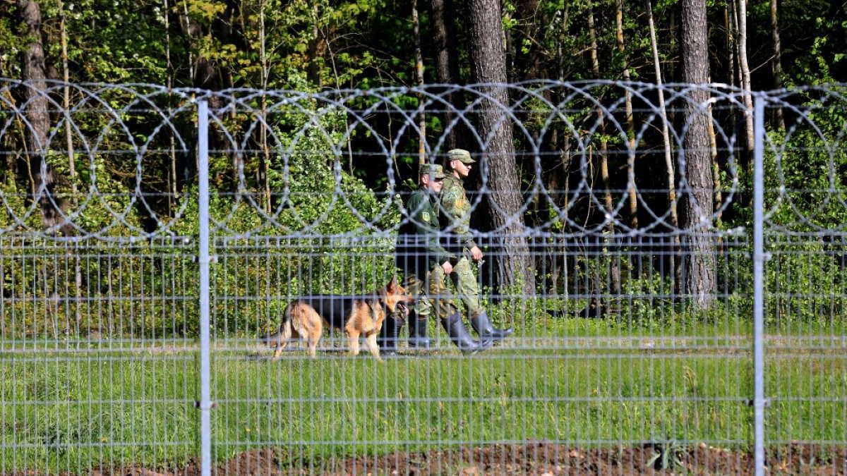 Забор на границе Литвы и Белоруссии