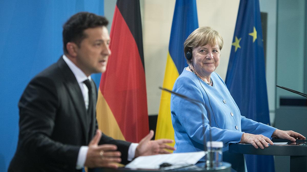 Владимир Зеленский и Ангела Меркель