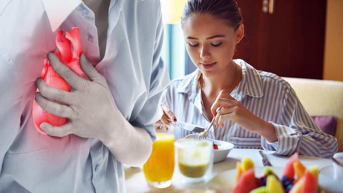 завтрак и боль в груди
