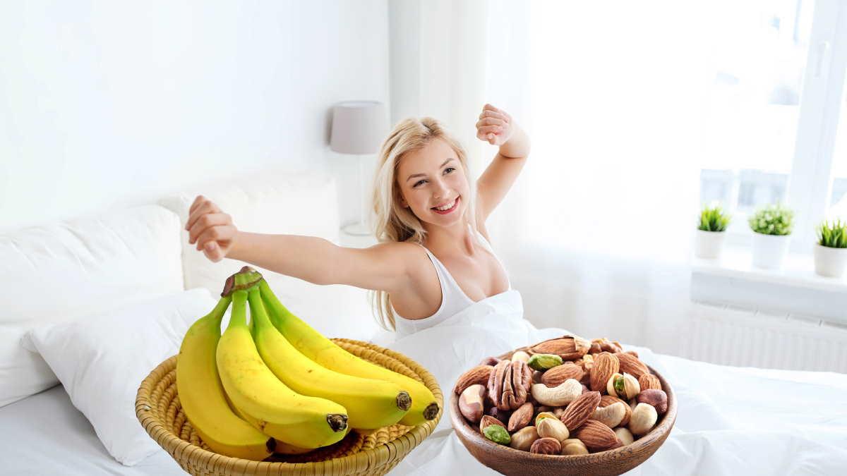 бодрый человек утро бананы орехи