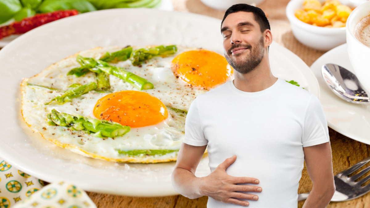 сытый человек яичница