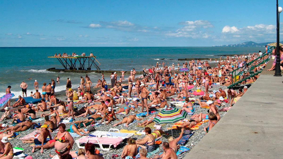 пляж много людей