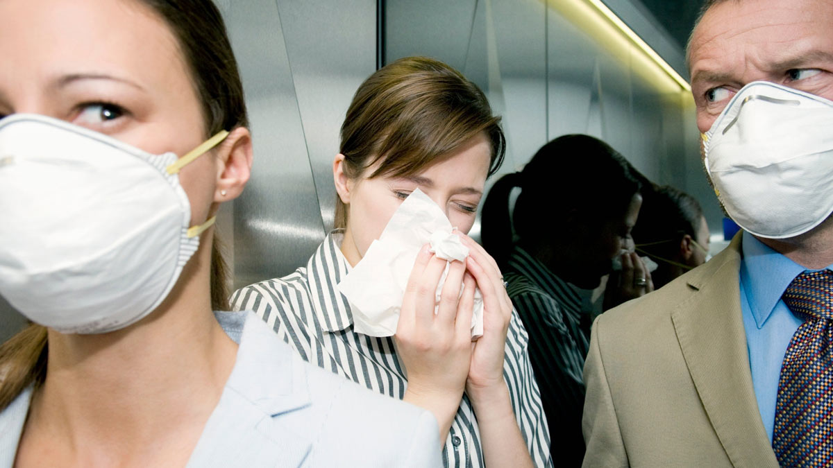 женщина насморк люди маски