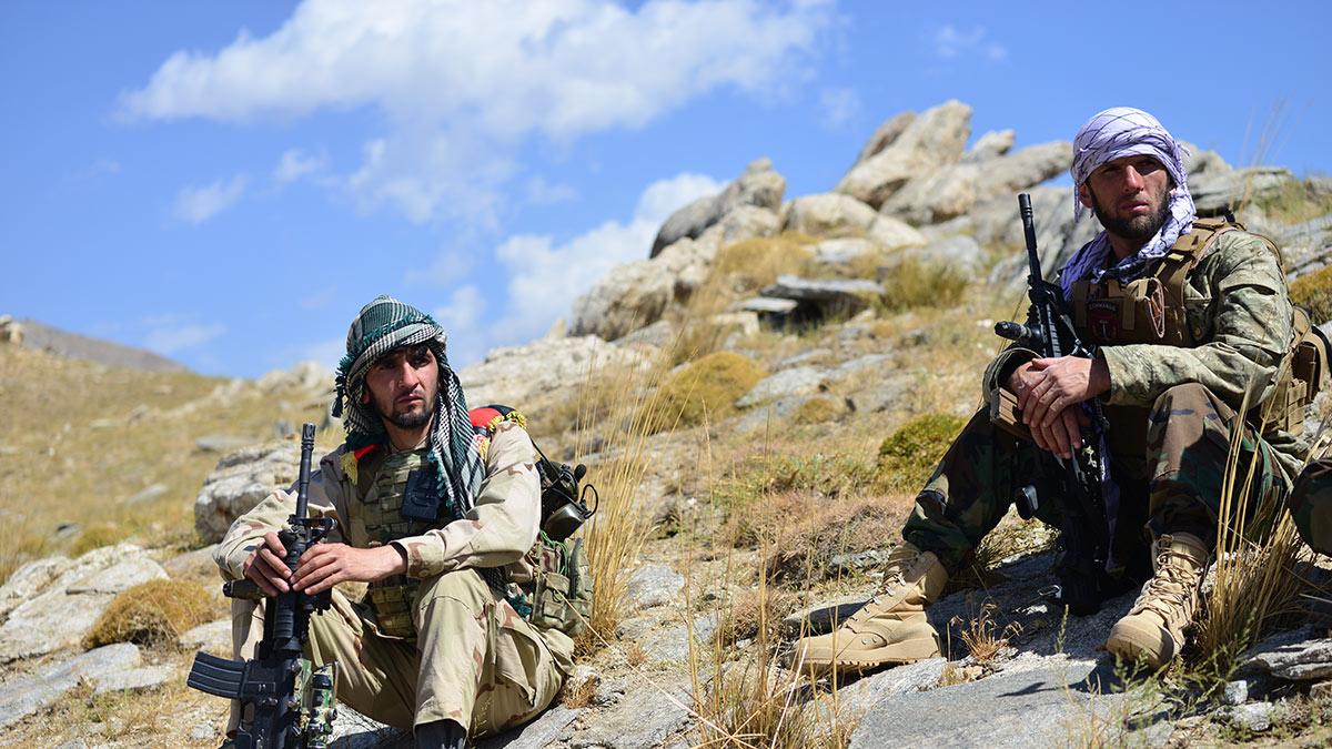 Бойцы сил Фронта сопротивления в Панджшере Афганистан
