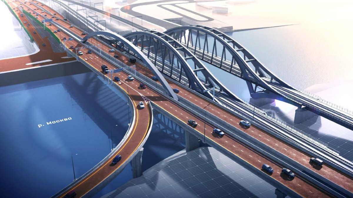 Ассиметричный арочный мост в районе московского Сити