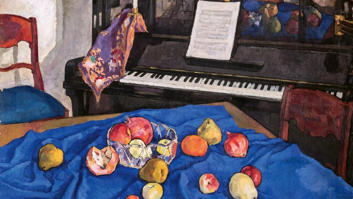 Белкин Вениамин. Фрукты на синем. 1910-е.