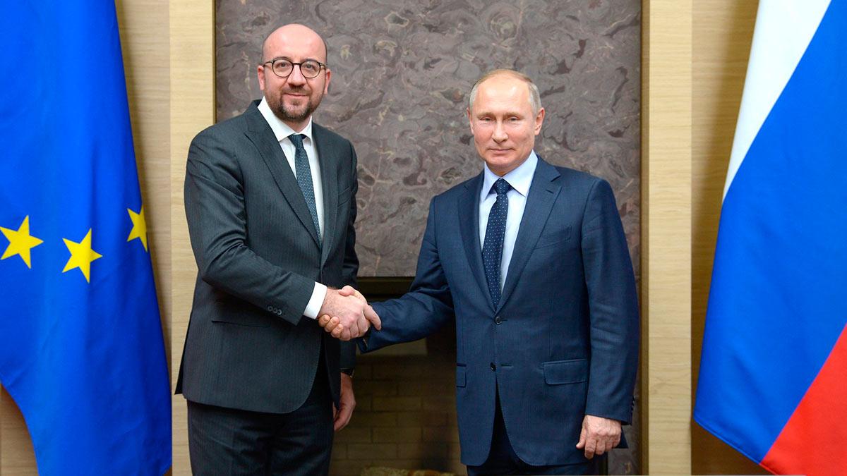 Президент России Владимир Путин и глава Евросовета Шарль Мишель