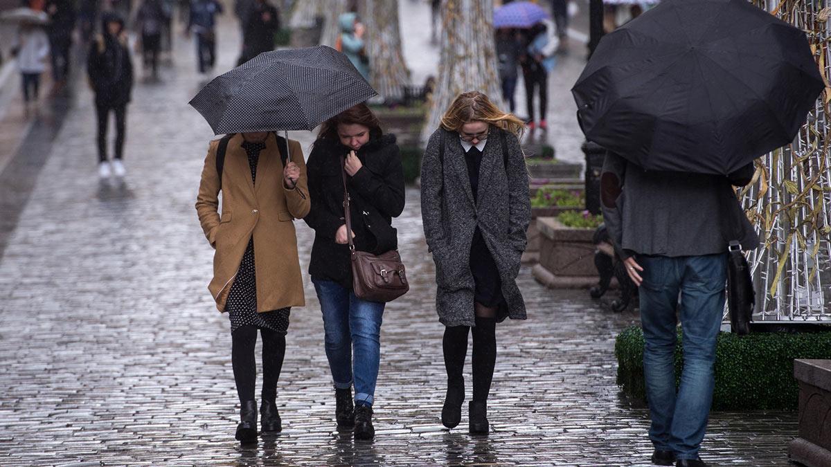 девушки с зонтами замерзли